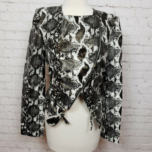 NWT: TOV cropped snakeskin faux leather jacket
